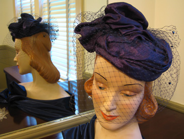 lustre organza hat with glass beads